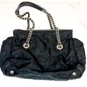 Prada black silver chain drop purse